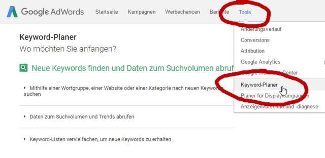 Keyword Recherche Google Keyword Planer