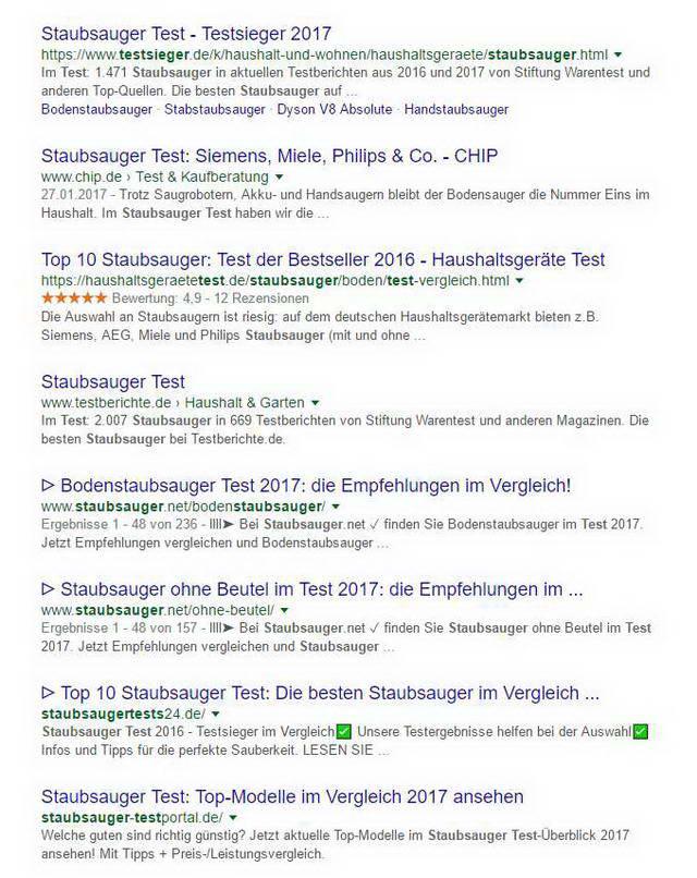 Suchmaschinenoptimierung Google Suchergebnisse