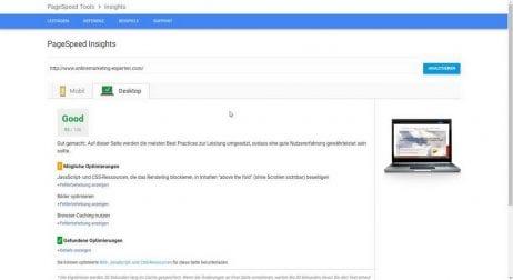 Google Pagespeed Desktop nach Optimierung