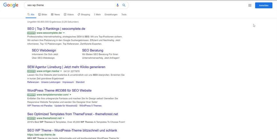 SEO WP Theme Platz 1 bei Google