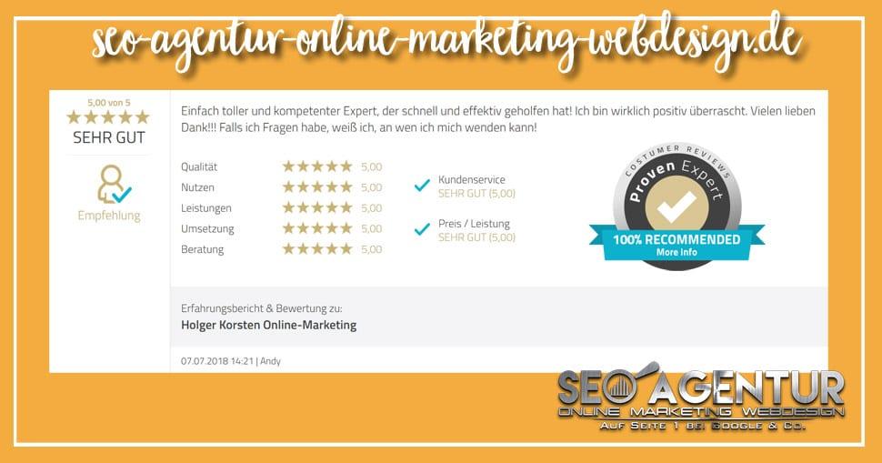 Online Marketing Testimonial Andy