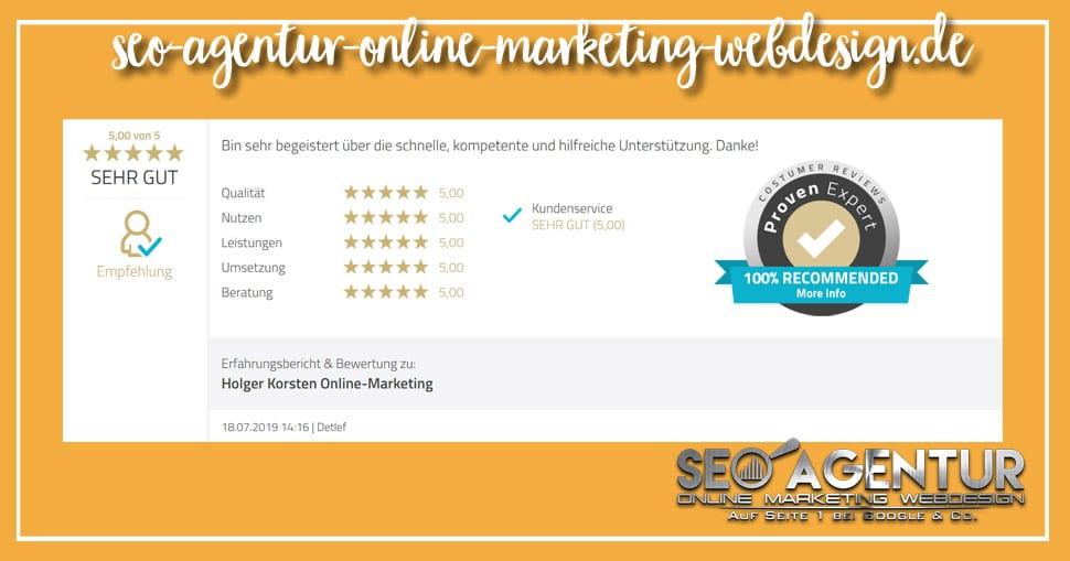 Online Marketing Testimonial Detlef