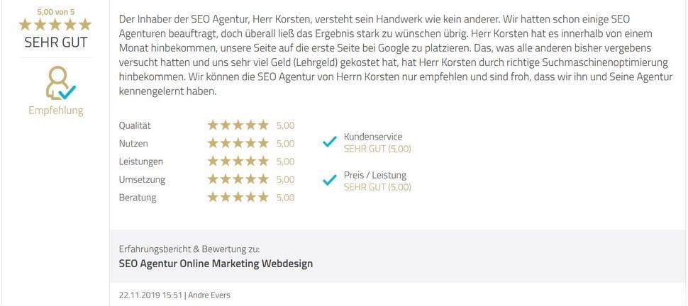 SEO Agentur Hamburg Testimonial